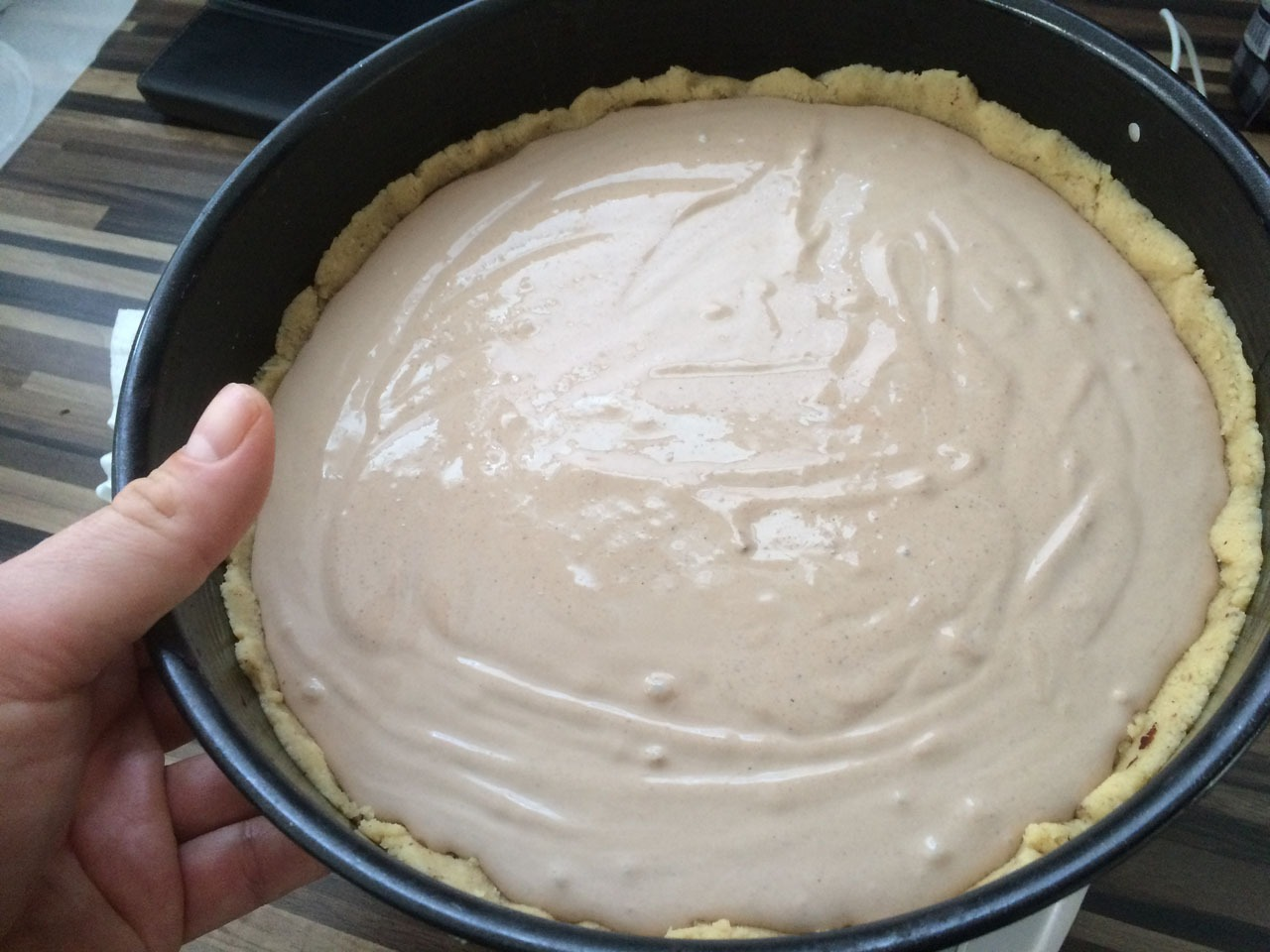 Zubereitung Quarkcreme Kuchen mit Kakaonote