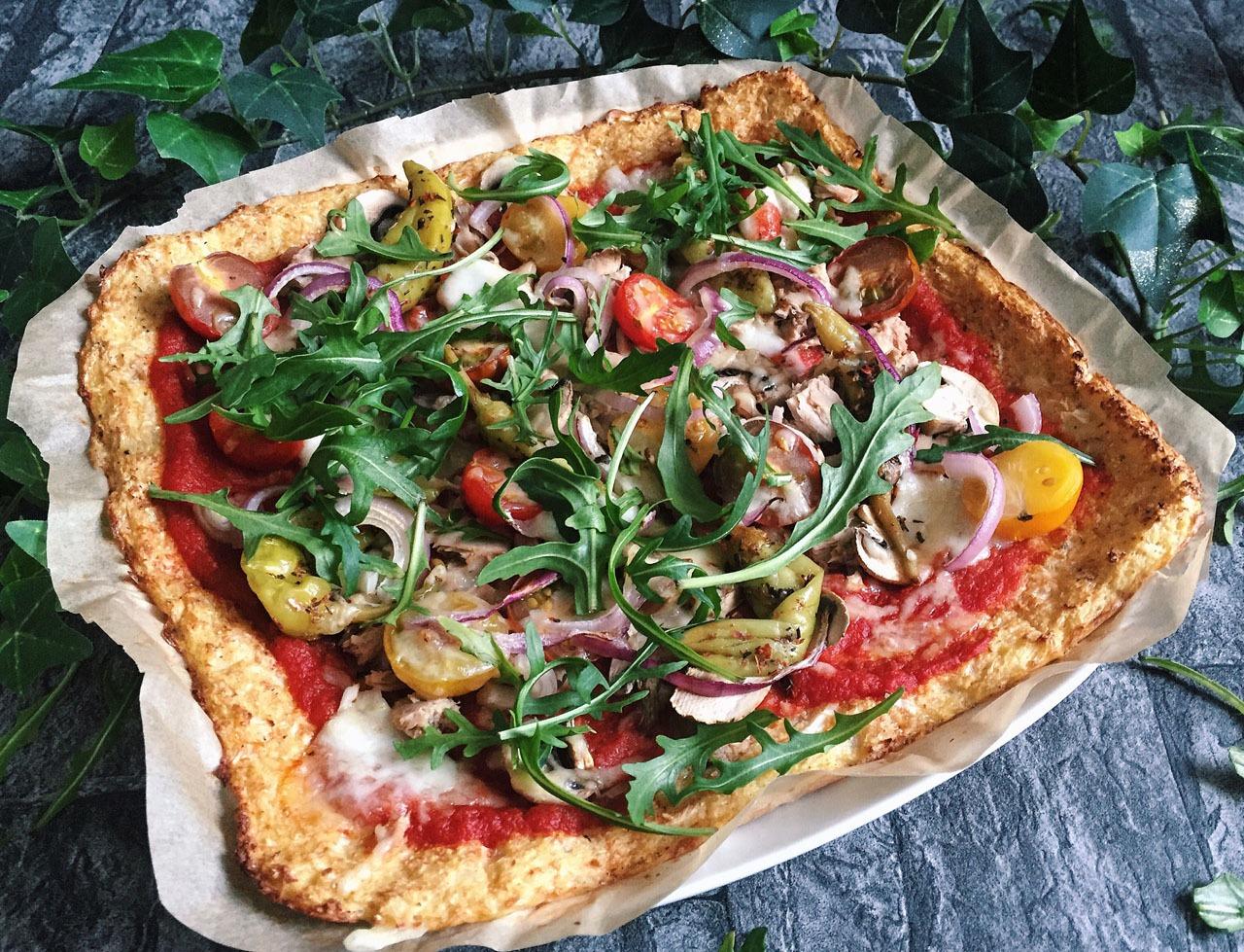 Zubereitung Pizzaboden mit Blumenkohl