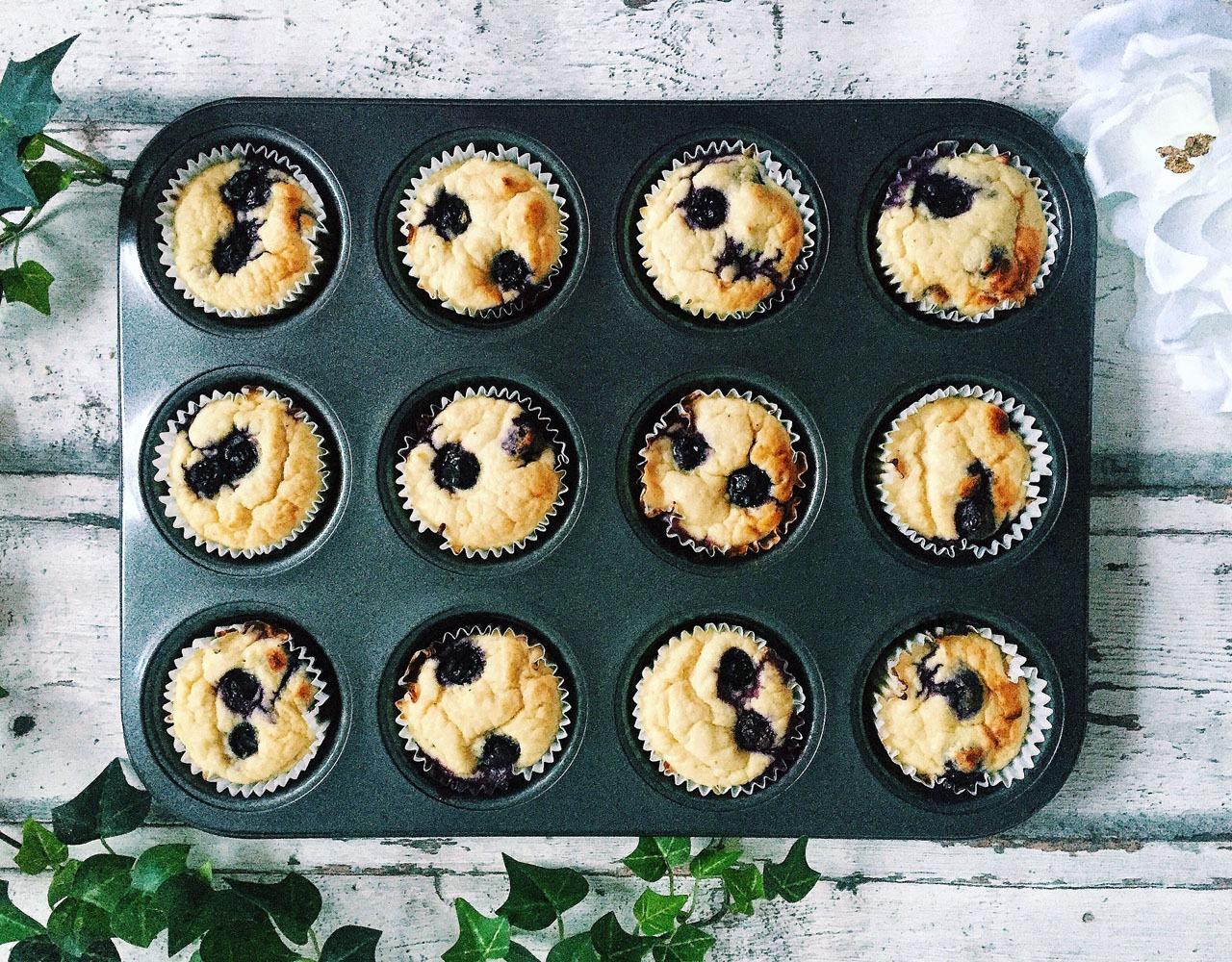 Zubereitung Heidelbeer Protein Muffins