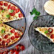 Rezept für Spargelquiche mit Schinkenwürfeln und Tomaten